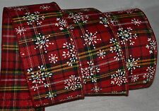 "Wired Ribbon~Christmas Red Tartan Plaid~White Snowflake~2.5""~Holiday~Wreath~Bow"