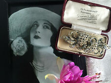 Vintage Art Deco 20s 30s Diamond Paste Pave Duette Dress Clips Brooch. Gift Box