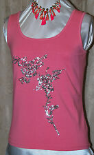 KATHLEEN KIRKWOOD BEAUTIFUL FLORAL SEQUIN STRETCH COTTON CAMISOLE CORAL/SILVER L