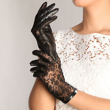 Fashion Women's Gothic Leather Lace Lolita Sexy Gloves Mittens Black Color