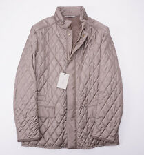 NWT $3550 BRIONI Quilted Beige Water-Repellent Silk Field Jacket XL Leather Trim