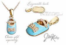 Gold Plated Blue Baby Shoe Pendant  007-g
