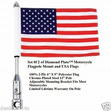 2 of Diamond Plate Motorcycle Flagpole Mount and American/USA Flags Mount on Car