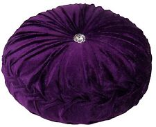"PURPLE LUXURIOUS THICK VELVET ROUND DEEP CRYSTAL PLEATED CUSHION 15"" - 38CM"