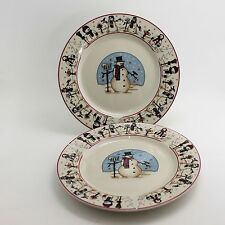 Cambridge Potteries Snowman Snowmen Serenade 2 Bread Salad Plates Winter Snow