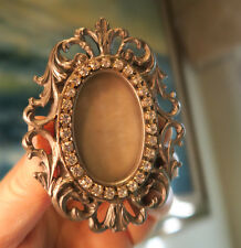 Vintage Victorian Vanity JEWELED spelter photo picture rococo Frame miniature