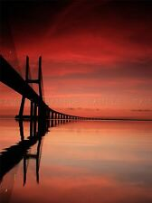PINK RED BRIDGE REFLECTION SEASCAPE PHOTO ART PRINT POSTER PICTURE BMP051A