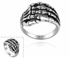 Skelett Knochen Herren Ring Skull Biker Gothic Farbe Silber Groesse 19 NEU 357