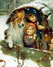 Print Victorian Children & Rough Collie Share Shelter from Falling Winter Snow