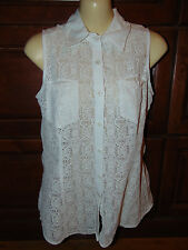 CAbi White Lace Top Sleeveless Button up Style 725 Size SMALL