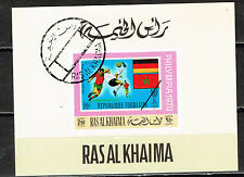 Ras Al Khaima Soccer World Cup Mexico Flags Souvenir Sheet 1970