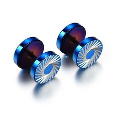 Blue Stainless Steel Tornado Pattern Men's Boy's Punk Round Ear Studs Earrings