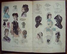 A9 - gravure mode Magasin des demoiselles - 1874 (coiffes corsages)