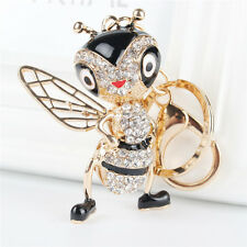 Lovely Bee Honeybee Charm Pendant Crystal Purse Bag Key Chain Ring Party Gift