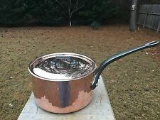 """Dehillerin By Mauviel 8"""" Hammered 2.65mm Copper Saucepan W/New Lid Tin Lined"""