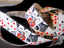 """Poker Cotton Ribbon Trim, Playing Cards, Multicolor, 1 3/8"""" inch wide, 1 yard"""