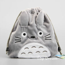 Japanese Anime My Neighbor TOTORO Draw String Bag Fluffy Multifunction Pouch 8''