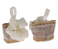 12 x Hessian C Flower Favour Pouch Bag Pearl Cream Lace Wedding Gift Velcro
