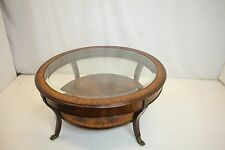 Regency Flame Mahogany Coffee Table With Glass Top Insert & Shelf