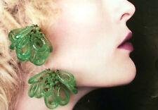 ORECCHINI A CLIP GRAPPOLO PERLINE VERDI A GOCCIA ANNI 70 vintage earrings J8