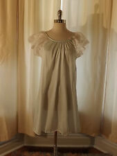 Vtg Body Chic Womens M BABY DOLL SHORT NIGHTIE Light Green Nightgown Nylon Lace