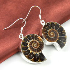 Unbelievable Natural Ammonite Fossil Gems Silver Women Dangle Earrings 1 7/8""