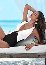 Black White Criss Cross One Piece Swimsuit Costume Venus Size M