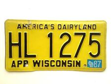 Wisconsin 1987 Vintage License Plate 1980 Base Garage Old Car Auto Tag Man Cave
