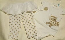 Carters baby girl set 2 pcs bodysuit and leggings with tutu white/gold size 6M
