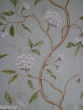 "COLEFAX AND FOWLER FABRIC DESIGN ""Snow Tree"" 9.8 METRES AQUA 100% LINEN"