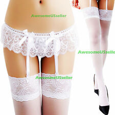 New Woman's Sheer Lace Top Thigh-Highs Stockings and Garter Belt Suspender