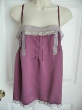 Free People Athrolopologie 8 Blouse Camisole Cami Silk Purple Lace Trim Pleated