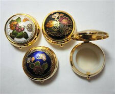 """ONE (1) Cloisonne Enamel Round Hinged Pill Box 1 1/2"""" x 3/4"""" with Plastic Insert"""