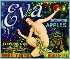 San Francisco Eva Bible Story Adam and Eve Apple Fruit Crate Label Art Print