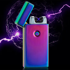 Electric USB Rechargeable Flameless Tesla Coil Cigarette Dual Lighter Men Gift