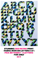 "Fabric Iron On Letters - Geometric Retro - 1.5"" Cotton 1-5 Letters for £3!!"