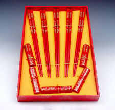 Gift Set 5 Pairs Red Gold Dragons Double Happiness Wooden Chopsticks w/ 5 Holder