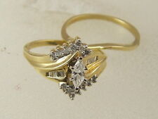 14K MARQUISE DIAMOND ENGAGEMENT RING 14 KARAT GOLD WEDDING BAND 2 PIECE RING SET