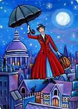 Mary Poppins Umbrella City Flying Magical Moon Star Original ACEO Painting Print
