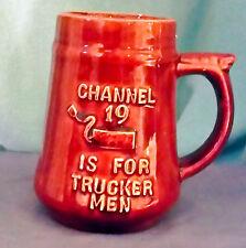 Vintage TRUCKER 'Channel 19 Is For Trucker Men' COFFEE MUG 24oz BROWN GLAZE