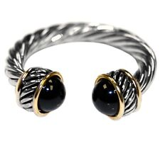 TWO TONE CABLE BLACK CZ BEAD ADJUSTIVE RING-BRIDAL