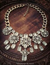 Stunning royal white crystal cluster large statement chunky chain necklace