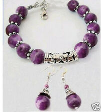 Beautiful handmade Tibet Silver Purple  Beads Bracelet  Earrings set