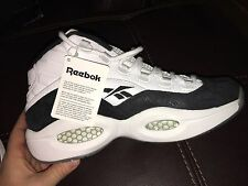 REEBOK QUESTION MID SIZE 10 BLACK & WHITE BRAND NEW DEAD STOCK ALLEN IVERSON