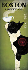 Boston Terrier Coffee Co Panel Ryan Fowler Vintage Ads Dogs Print Poster