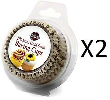Norpro Gold Swirl Paper Mini Bake Cups, 100 Pack, Cupcake Liners (2-Pack)