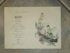 Menu, avec scène de gondolier avec femme et musicien de 1923.