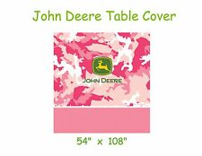 "John Deere Table Cover, Pink Camo Plastic 54""x108"", Birthday Party, Baby Shower"