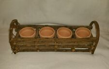 Wooden Stick Basket with 4 Mini Clay Pots - Garden Decor