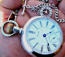 Antique 18 Size 24 Hour Dial COIN SILVER CASE Pocket Watch Waltham P.S. Bartlett